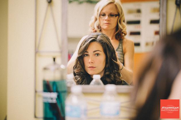 hair styling wedding preparations picture in mirror
