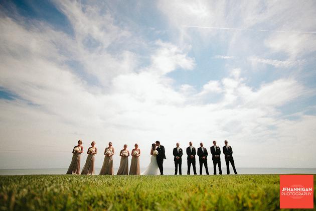 wedding party photos at lake