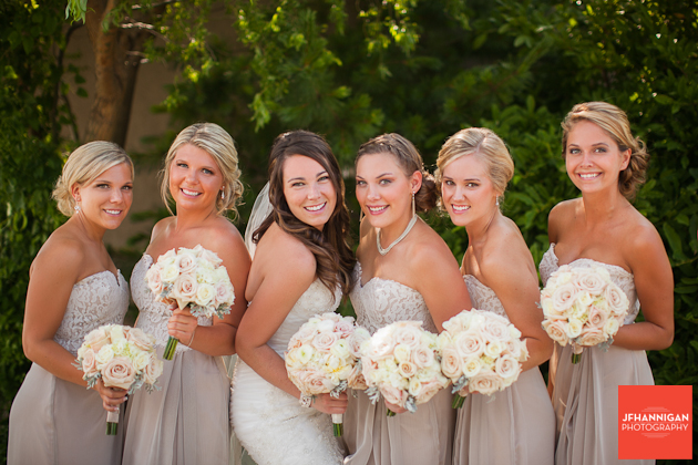 bride and attendents with green foliage in background
