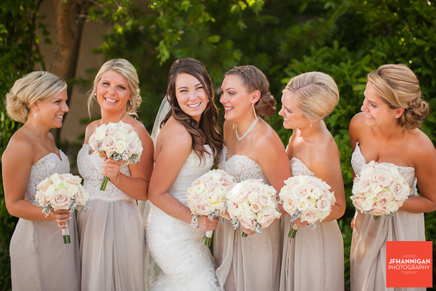 bridal party dressed in champagne colored dresses