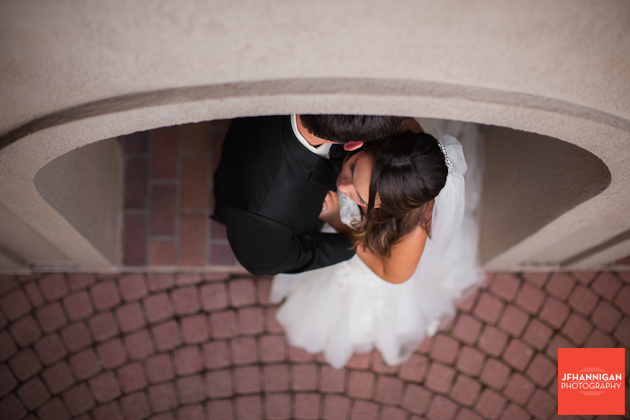 overhead view of bride and groom in arch Niagara Wedding Photographer