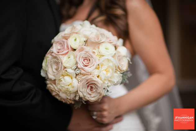 bridal bouquet with champagne colored roses