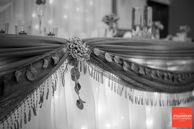 decorations on head table of wedding reception