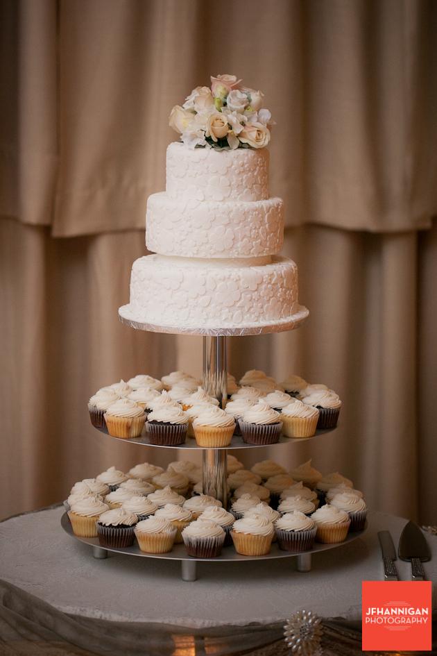 wedding cake and cupcake tree