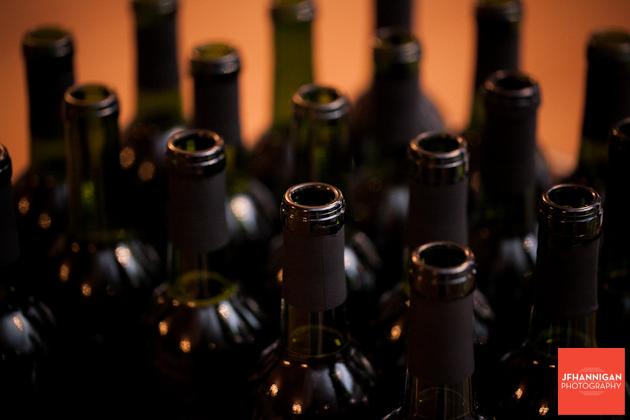 wedding reception wine bottles