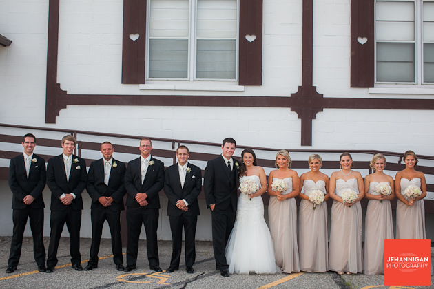 bridal party outside reception hall