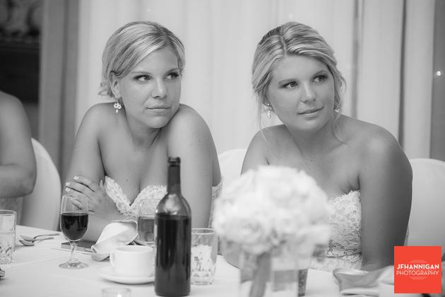 bridesmaids at reception head table