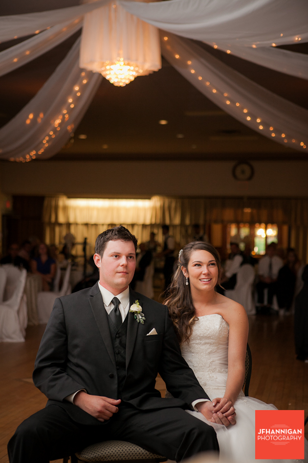 bride and groom enjoy power point show