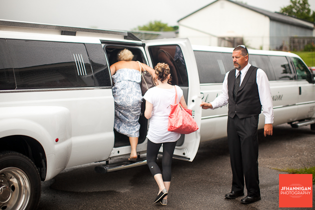 bridal party leaving salon in limo