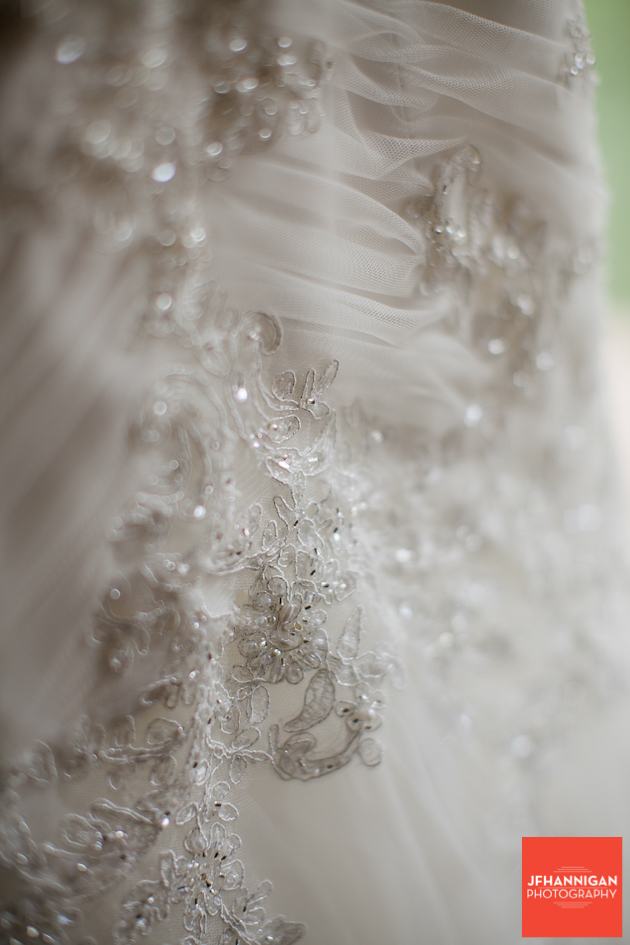 bead work on bride's dress