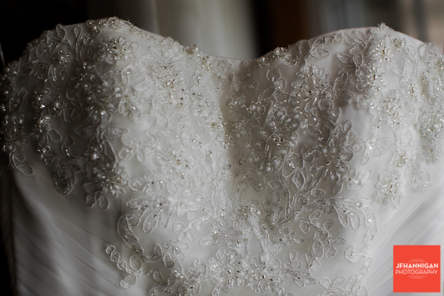 bead work on bridal gown