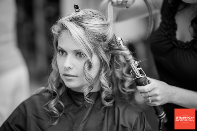 wedding day preparations at salon hair curled