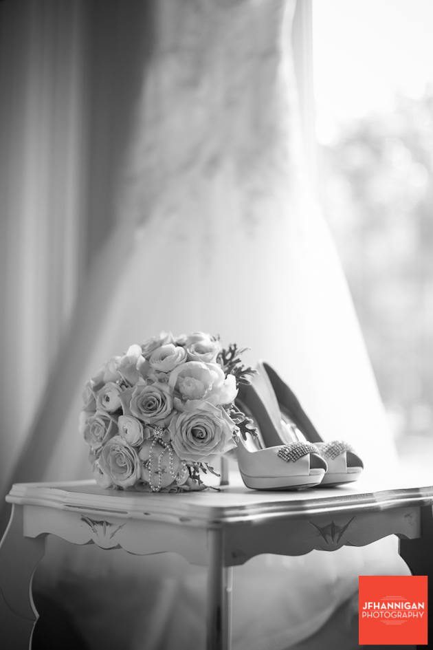bridal shoes, bouquet and dress