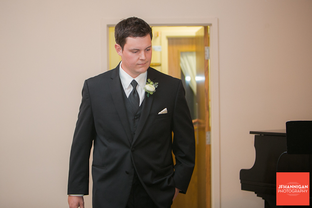 entrance of groom at wedding