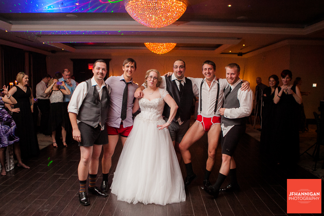 bride with groomsmen in underwear