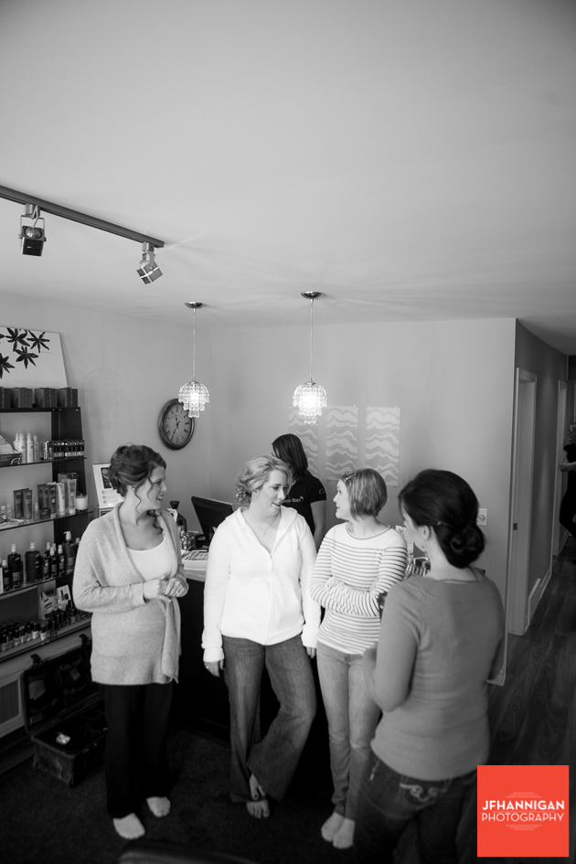 bride and bridesmaids at salon