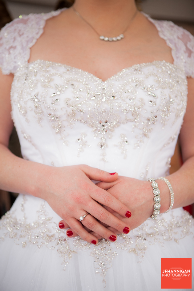 bride in gown with bead work