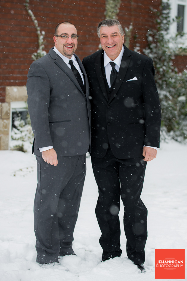 groom and dad in snow