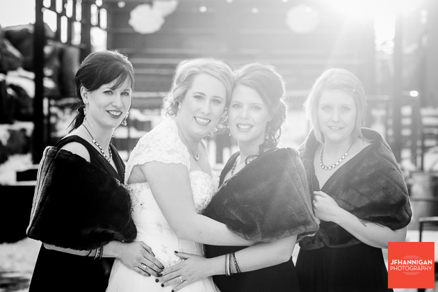 Bridal Party with sunbeams in background