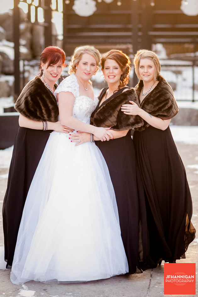 Bridal Party in winter with furs