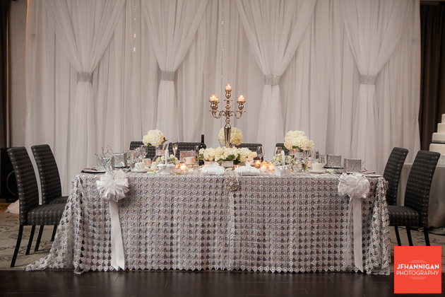 head table with hydrangea flowers