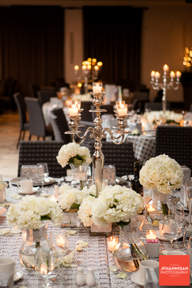 reception tables in taupe and white hydrangea