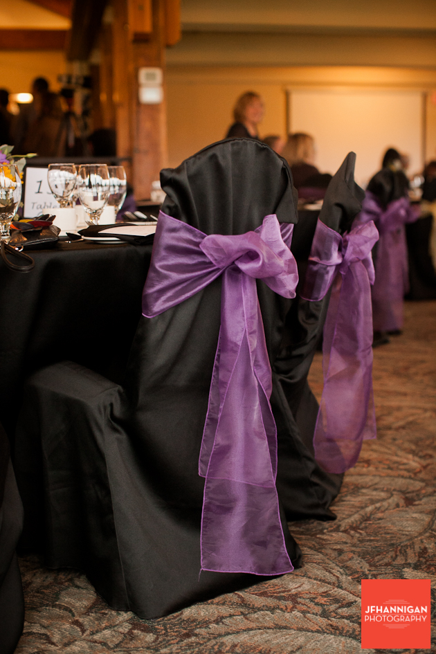 chair covers in black and purple