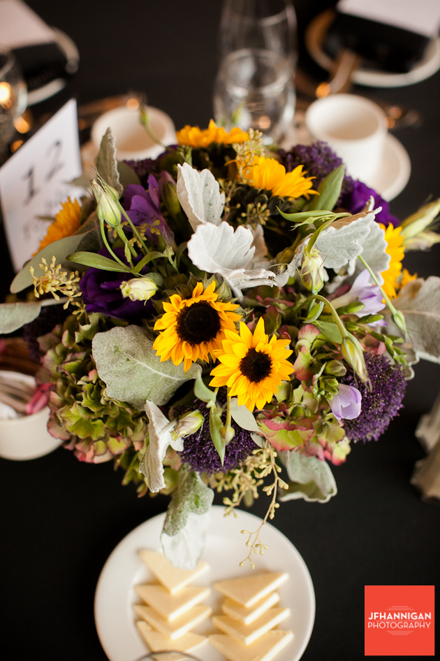 flower arrangements in yellow and purple