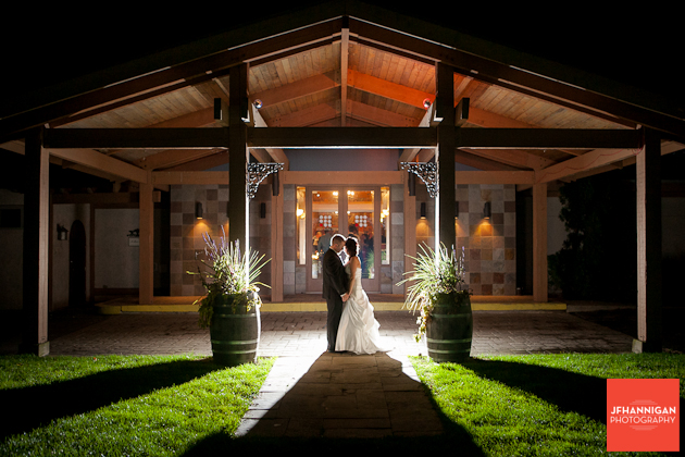 bride and groom at night with back light