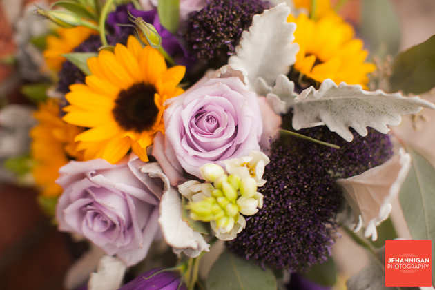 bridal bouquet in mauve and yellow