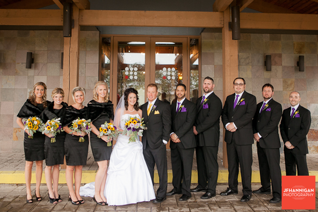 wedding party with yellow and purple accents