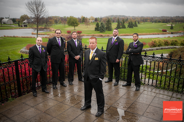 groom and ushers with yellow and purple accents