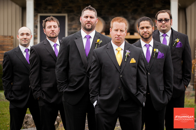 groom and usher with purple and yellow accents