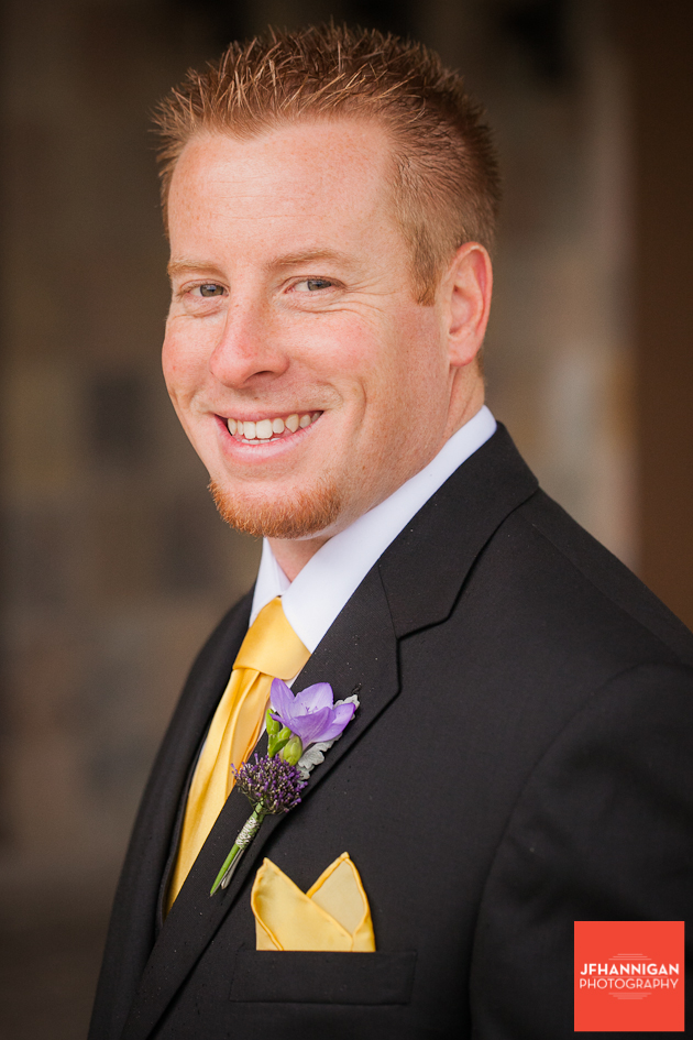 groom's portrait with yellow and purple accent