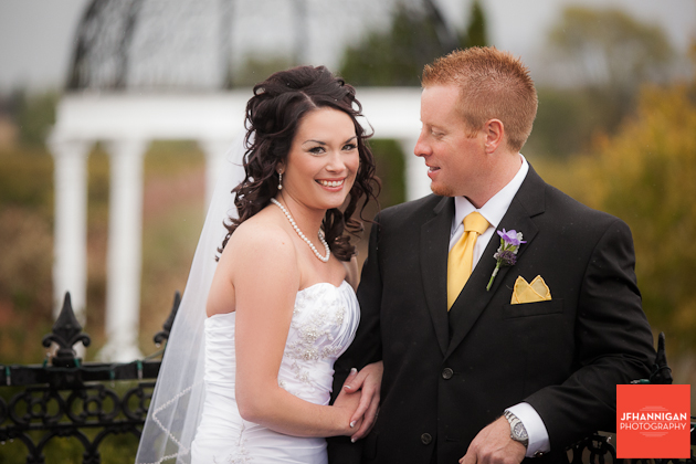bride and groom portrait yellow and purple accents