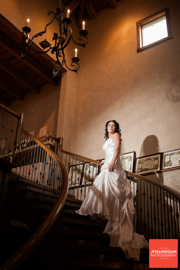 bride and circular staircase Niagara Wedding Photographer