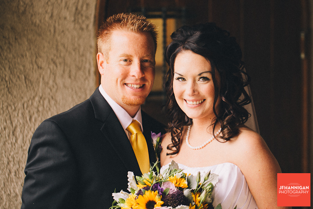 bride and groom portrait  with yellow accents