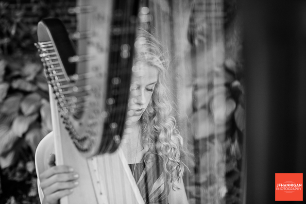Black and white, Harp, Wedding Ceremony, Wedding Day, Niagara Wedding Photographer, Niagara Wedding Photography