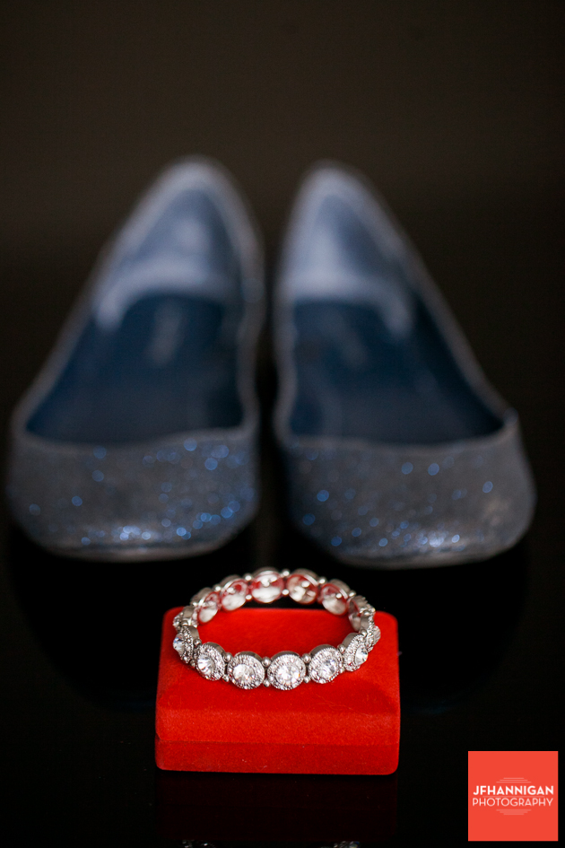 bridal shoes and bracelet