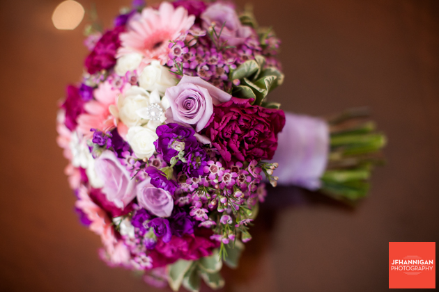 bridal bouquet in purples and pinks