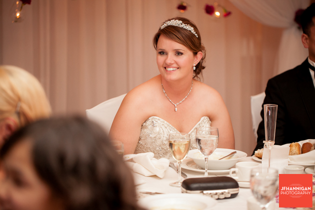 bride listens to speeches
