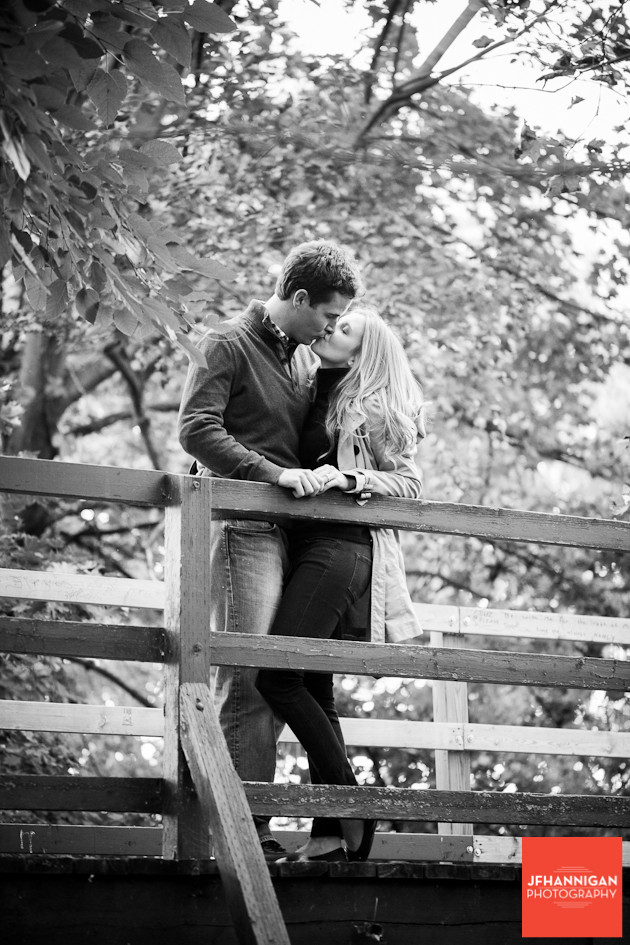 black and white, bridge, Trees, Wooden Area, Dufferin Islands, Engagement Photo Shoot, Bride and Groom to be, Niagara Wedding Photographer, Niagara Wedding Photography