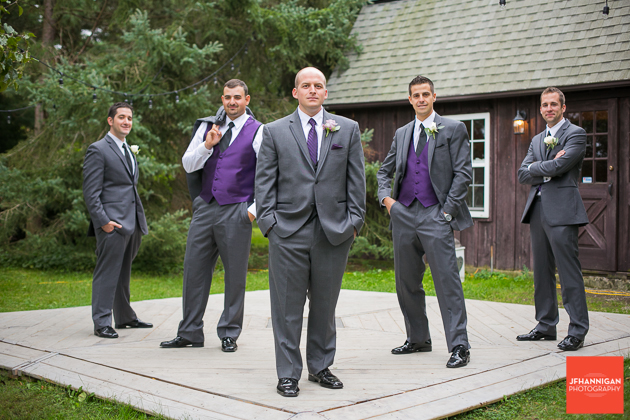 groom and ushers with purple accents