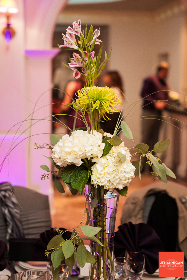 reception table flower arrangements