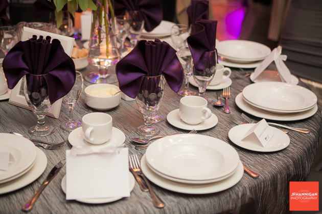 table place setting with purple accentw