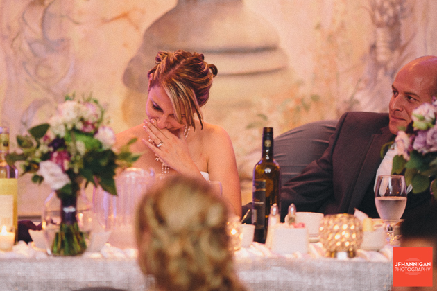 bride shows emotion during reception speech