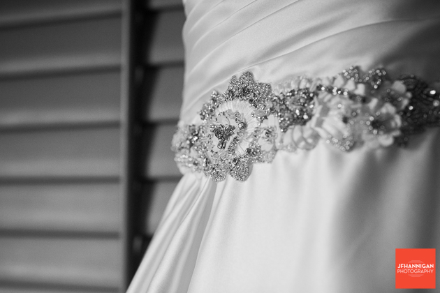 flowers on bridal gown