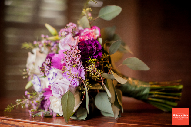 bridal bouquest in purples and white