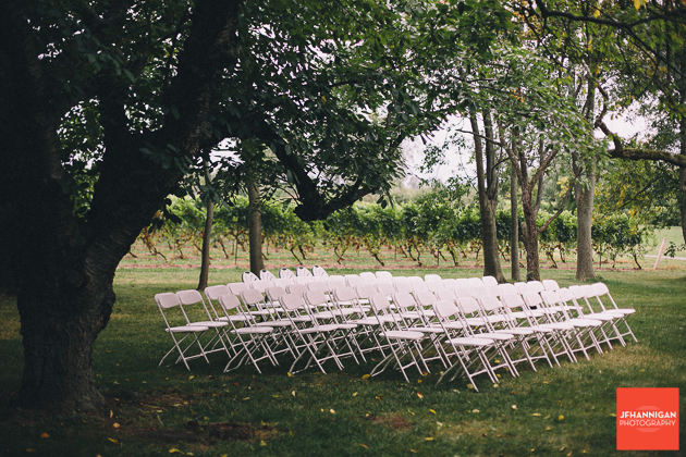 wedding with folding chairs at Gracewood