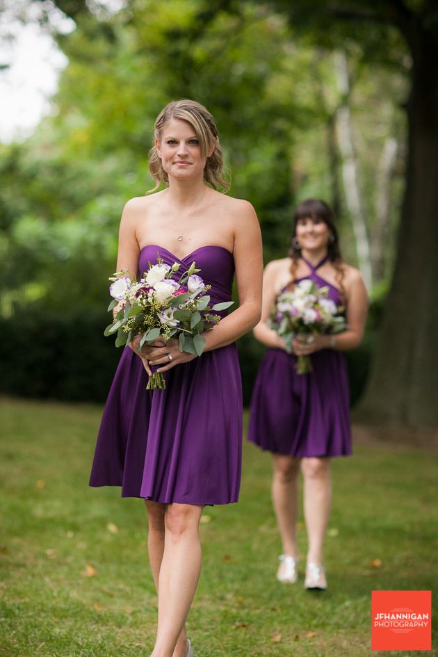 bridesmaid's entrances at outdoor wedding